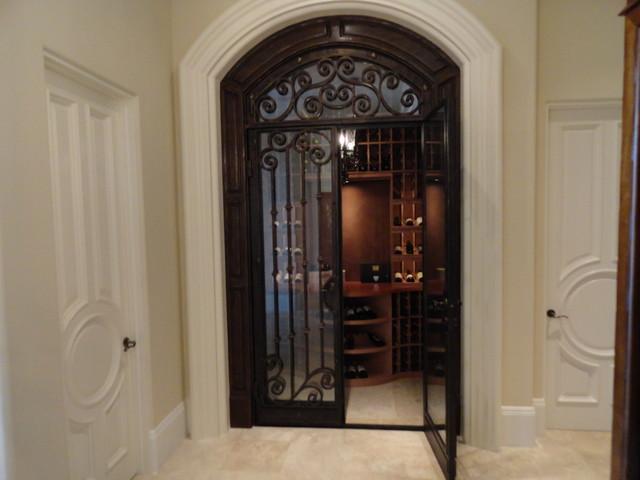 Beautiful Wrought-Iron and Dual Pane Glass Custom Wine Cellar Door CA - Traditional - Wine ...