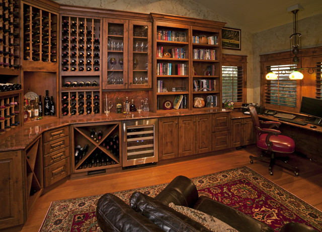 Custom wine room rustic wine cellar by fedewa custom for Custom rustic homes