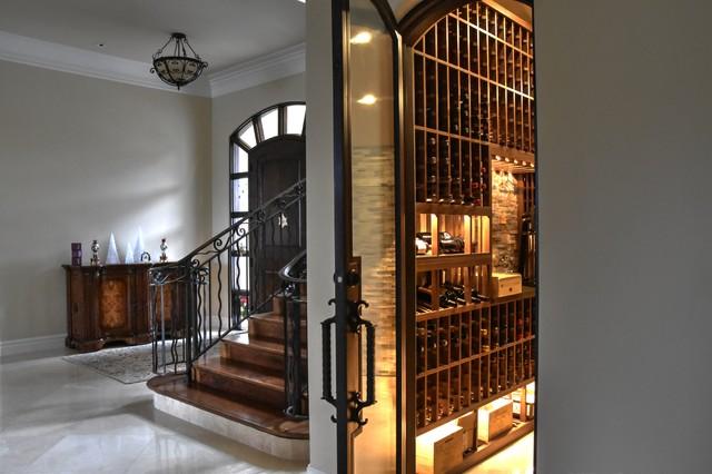 Del mar san diego small custom wine cellar walk in with for Walk in wine cellar