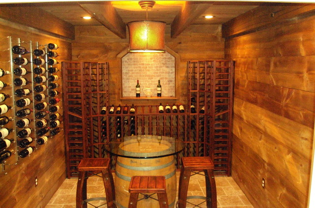 Diy barn style barn wood farmhouse wine cellar for Building wine cellar