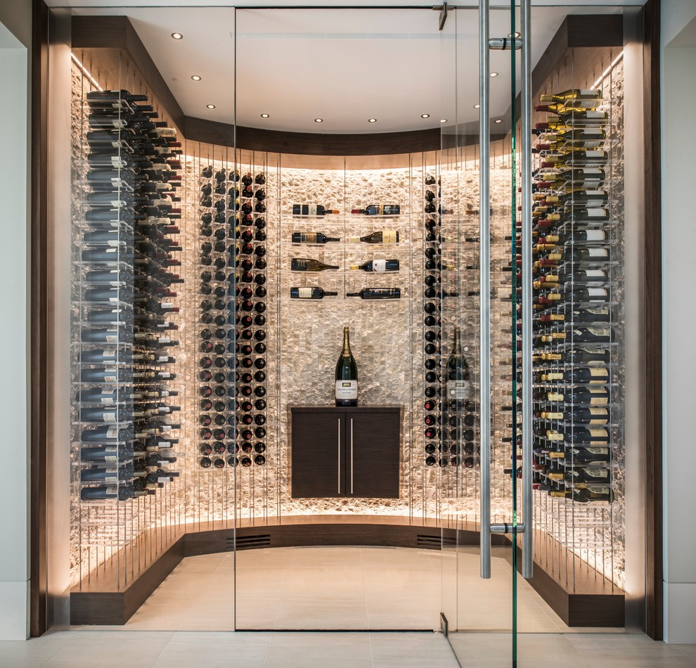 Inspiration for a mid-sized contemporary ceramic tile wine cellar remodel in San Francisco with display racks