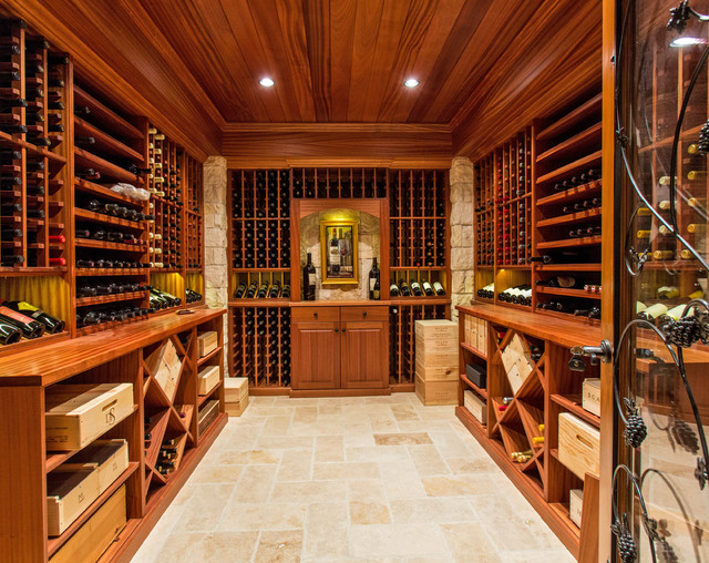 Wine Cellar Design Ideas saveemail Example Of A Tuscan Wine Cellar Design With Storage Racks
