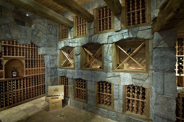 European Villa mediterranean wine cellar