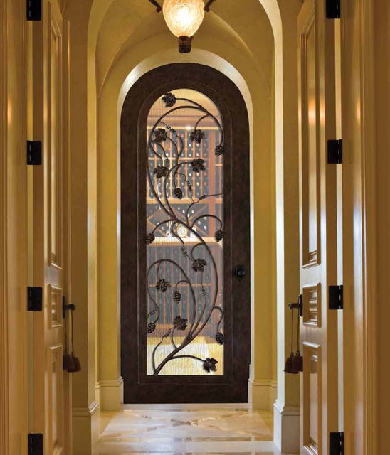 Forged Iron Doors Mediterranean Wine Cellar