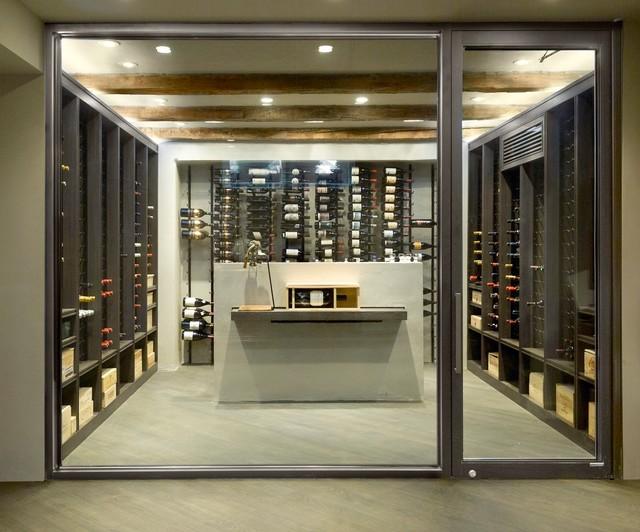 Frameless wine room glass doors for Garage wine cellar