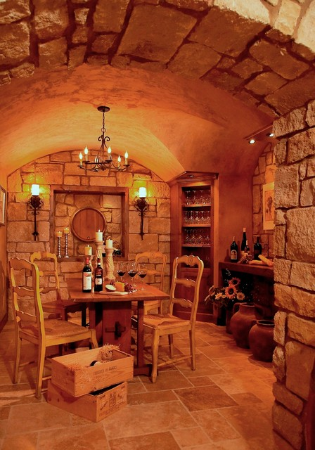 French Country Estate Traditional Wine Cellar