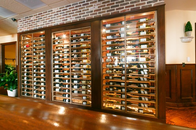 Glass Box and Brick - Contemporary - Wine Cellar - New York - by Joseph and Curtis Custom Wine ...