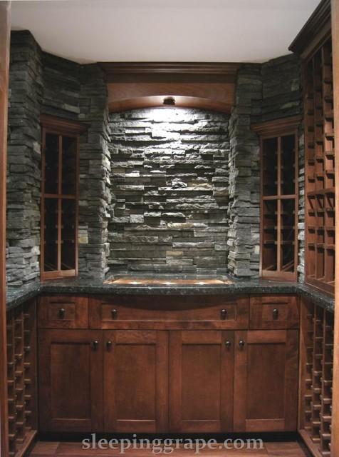 Glass, Stone and Maple Wine Cellar contemporary-wine-cellar