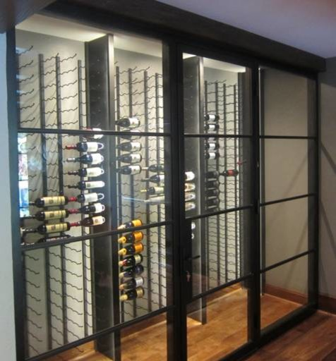 Glass Walls And Metal Custom Wine Racks Create A Contemporary Wine Cellar Modern Wine Cellar Dallas on poliform kitchens