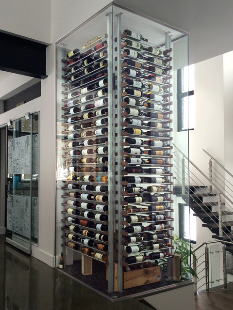 Glass wine cellar in the living room 12 contemporary wine cellar miami by millesime - Small space wine racks design ...