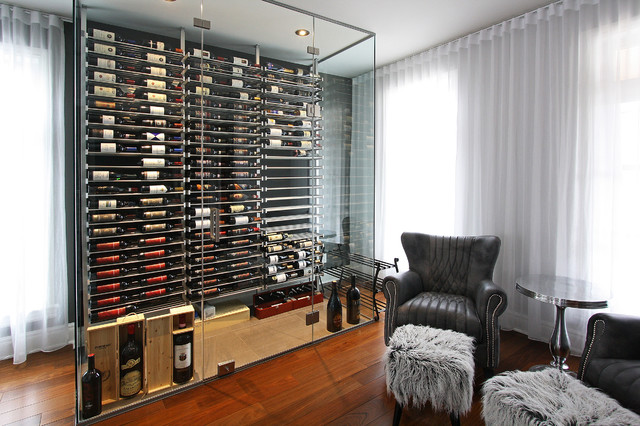 Glass wine cellar in the living room -2- - Contemporary ...
