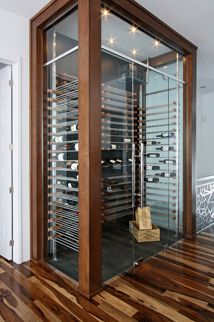 Glass wine cellar in the living room -3- - Contemporary - Wine Cellar - montreal - by Millesime ...