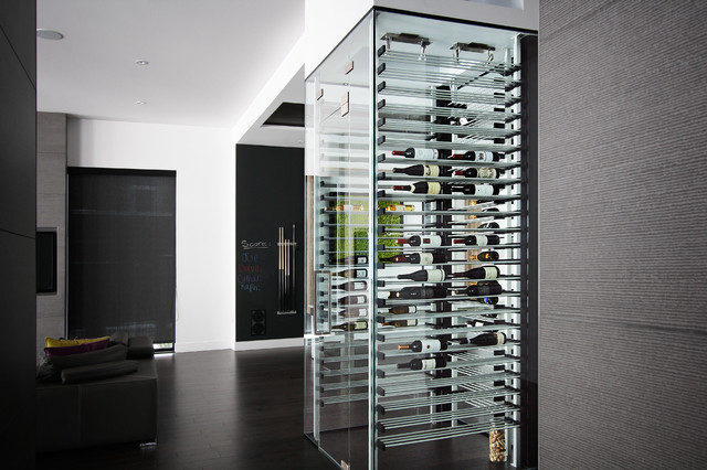glass wine cellar in the living room 8 contemporary. Black Bedroom Furniture Sets. Home Design Ideas