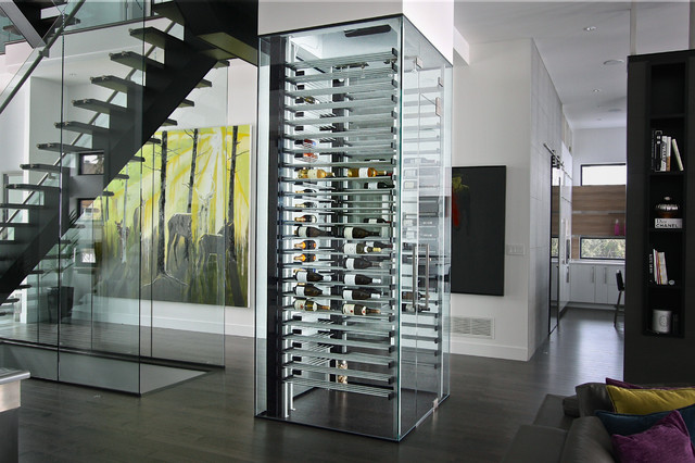 Glass Wine Cellar In The Living Room 9 Contemporary
