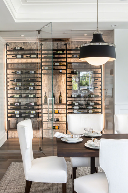 Glass Wine Cellar Off Dining Room, Wine Pictures For Dining Room