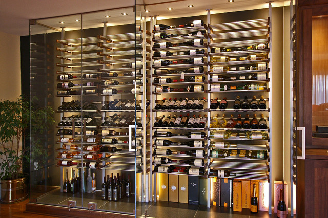 Glass wine room in the dining room -1- - Modern - Wine Cellar - Miami - by Millesime Wine Racks