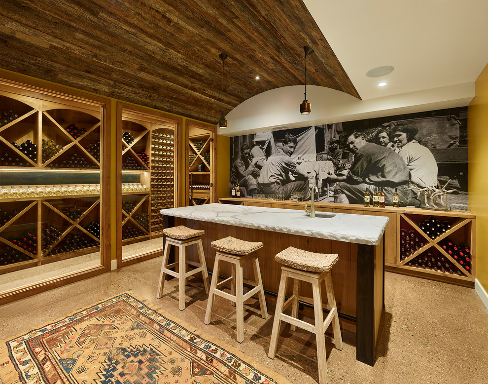 Mid-sized farmhouse beige floor wine cellar photo in San Francisco with diamond bins