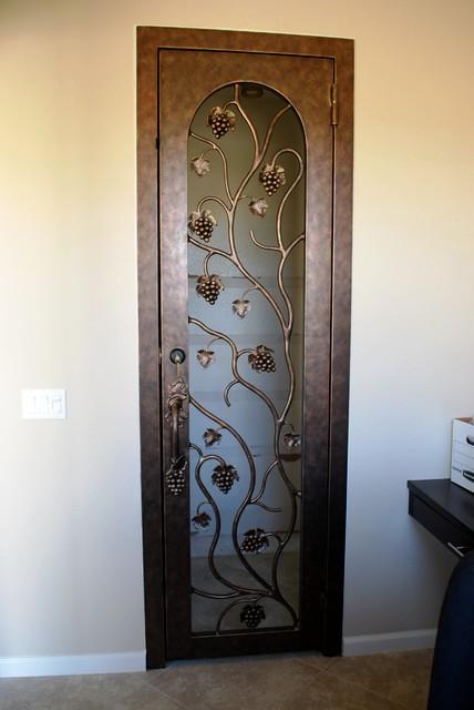 Gorgeous Hand Crafted Wrought Iron Custom Wine Cellar Door