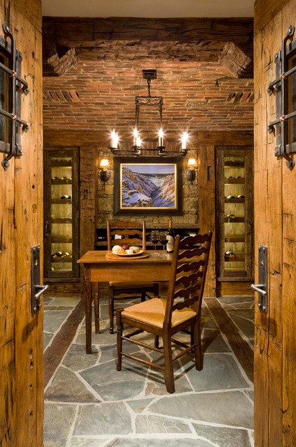 Great Point Lodge Rustic Wine Cellar By On Site
