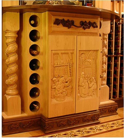 Hand carved panel cabinet doors for Carved kitchen cabinets