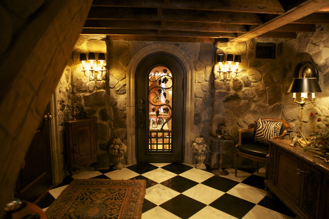 Hand Forged Wine Cellar Door eclectic wine cellar