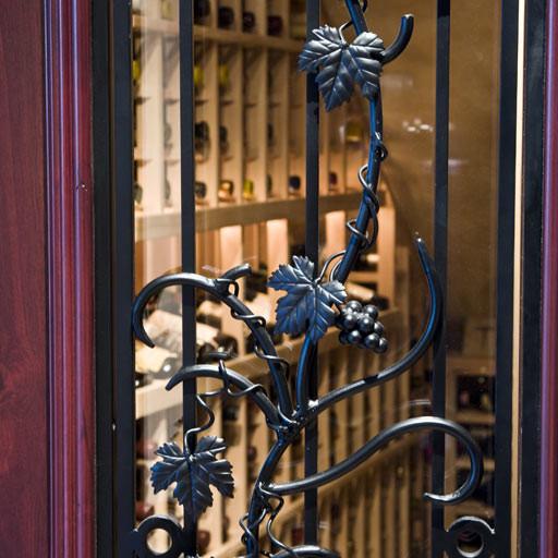 Hand Wrought Iron Grapevine Wine Cellar Door Design