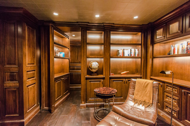 Home Theater With Secret Room Craftsman Wine Cellar