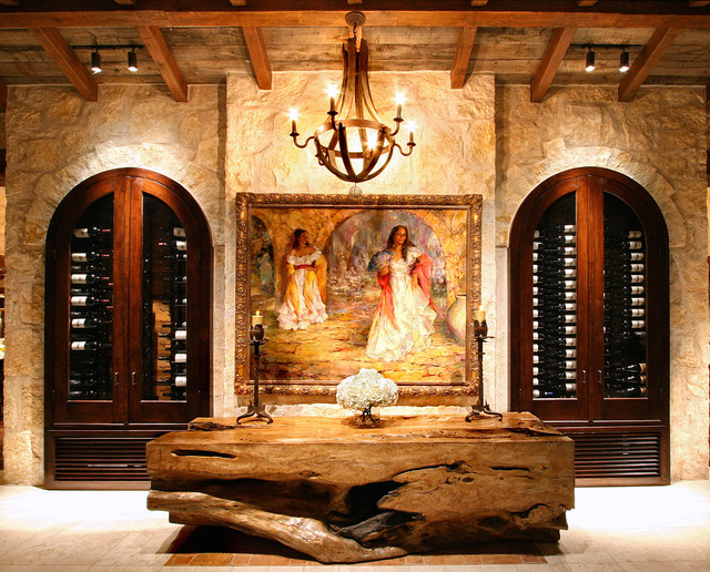 Eclectic spanish style lake house mediterranean wine cellar austin by zbranek holt - Spanish home interior design ideas ...