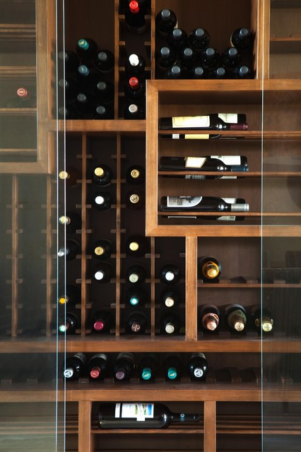 Huntington Beach contemporary wine cellar