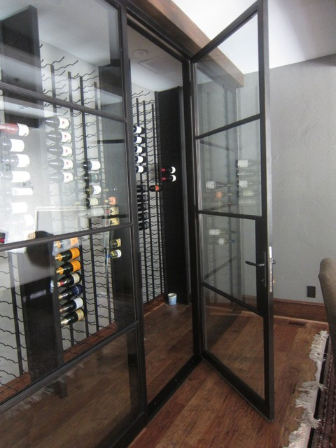 Insulated Iron And Dual Pane Glass Custom Wine Cellar Door
