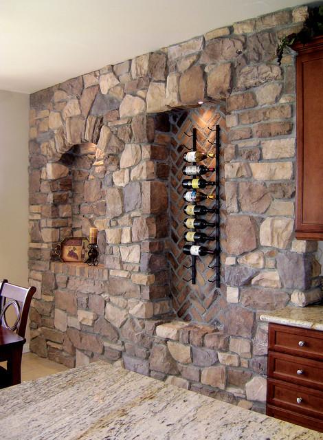 Italian Villa Stone Wine Wall - Coronado Stone Veneer - Mediterranean - Wine Cellar - los ...