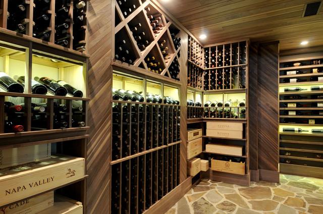 Example of a classic beige floor wine cellar design in Atlanta with storage racks