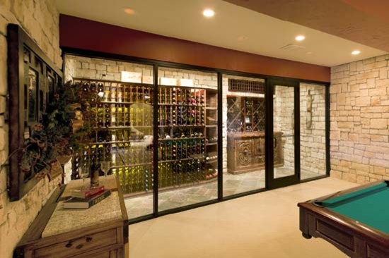 Kansas City Missouri Custom Wine Cellar Design Closet Room Glass Front Mediterranean