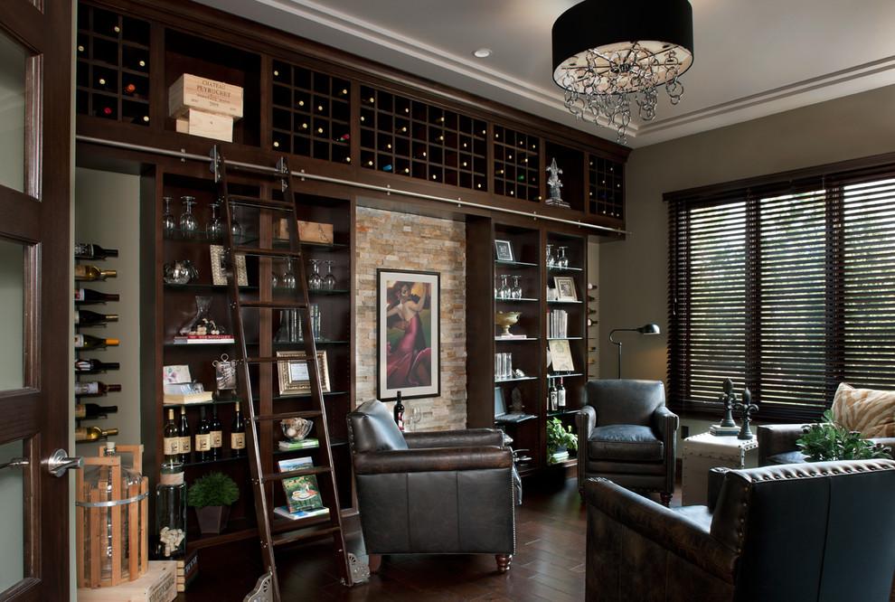 Example of a transitional dark wood floor and brown floor wine cellar design in Detroit with storage racks