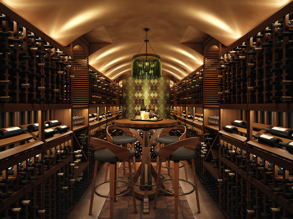 Inspiration for a mediterranean brick floor wine cellar remodel in San Francisco with storage racks