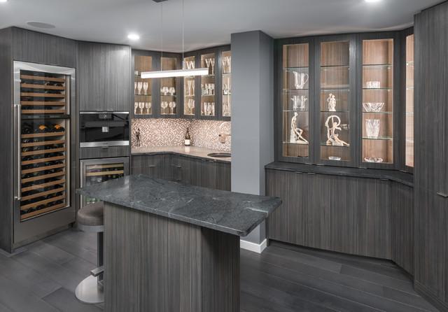 Trendy dark wood floor wine cellar photo in Minneapolis