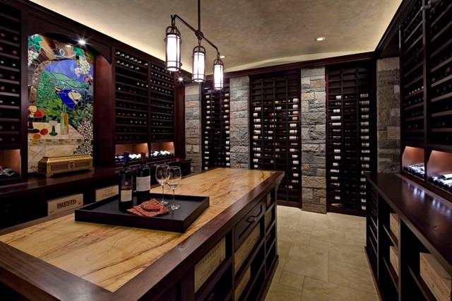 Lake washington man cave contemporary wine cellar for Garage wine cellar