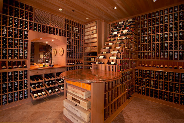 Large traditional beverly hills los angeles large walk in for Walk in wine room