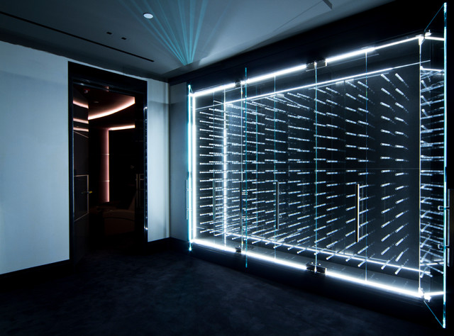 closet island ideas - LED Illuminated Glass Enclosed Wine Cabinet Modern