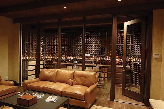 Living Area Glass Enclosed Mahogany Wine Cellar Rustic