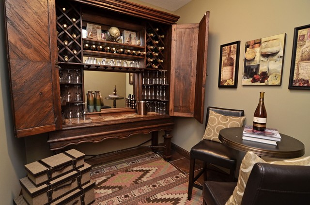 Lower Level Entertainment Area traditional-wine-cellar