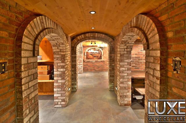 Luxe Wine Cellar - 4448 Bottle Mahogany Cellar w/ Walnut Stain mediterranean-wine-cellar