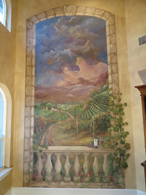 Mediterranean and tuscan murals mediterranean wine for Artistic mural works