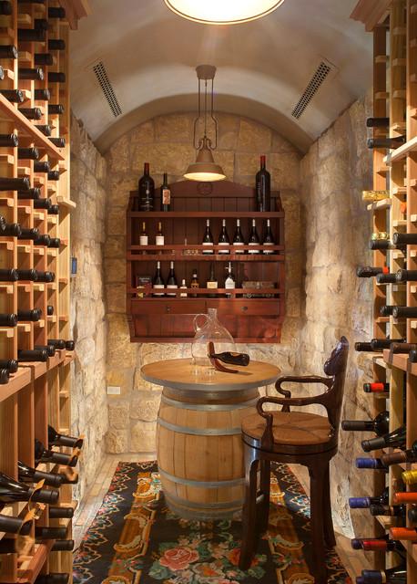 Custom Foothill Home Mediterranean Wine Cellar