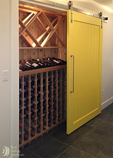 Wine Cellar Sliding Barn Door Mediterranean Wine