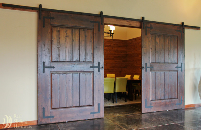 Rustic barn door hardware on wine tasting room for Rustic hardware barn doors