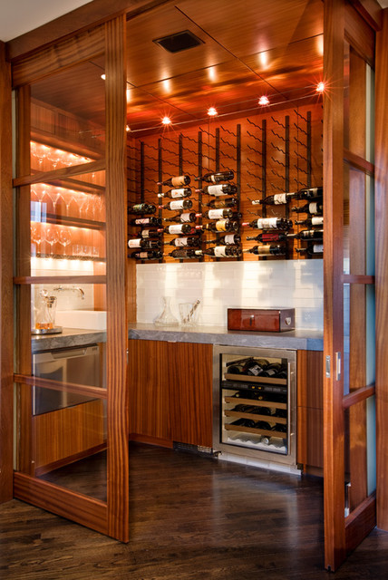Contemporary wine room made out of a powder room - Contemporary - Wine Cellar - austin - by Dick ...