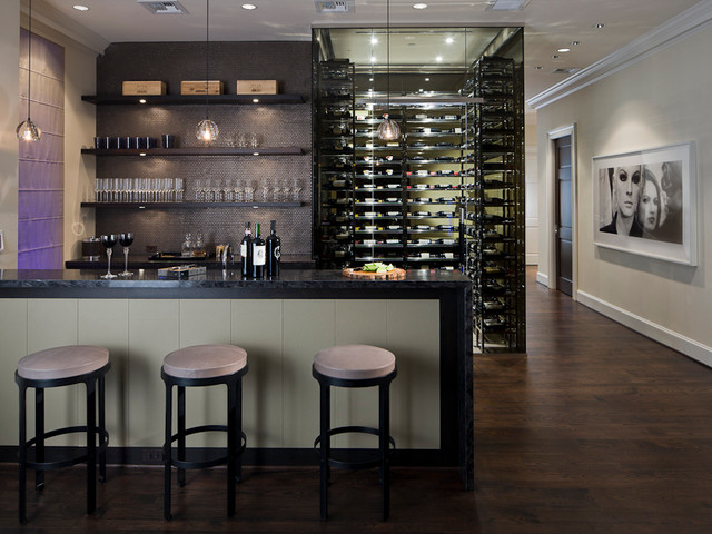 MICHAEL MOLTHAN LUXURY HOMES INTERIOR DESIGN GROUP Modern Wine Cellar