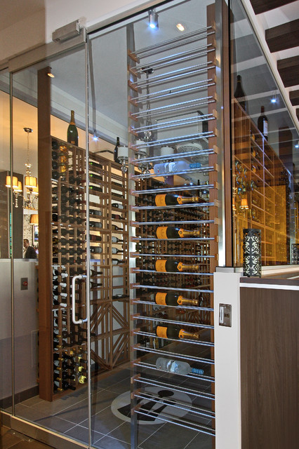 Millesime wine rack on a glass wall -1- - Transitional - Wine Cellar - Miami - by Millesime Wine ...