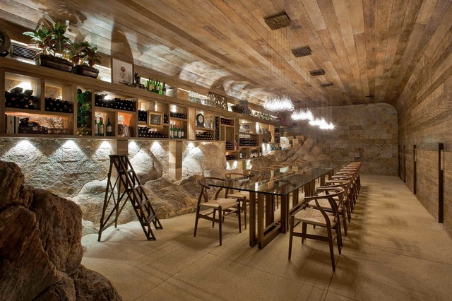 contemporary wine cellar by Eduarda Correa Arquitetura & Interiores